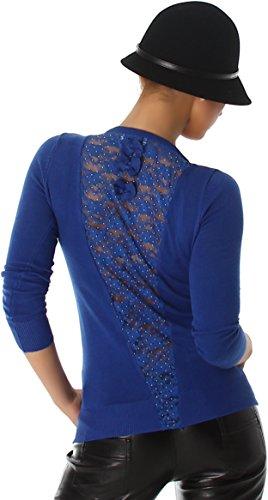 Jela London Damen Longsleeve Langarm-Shirt Pullover Spitze Strass Applikation Netz Rücken-Dekolleté Glitzer Schleife (34/36/38) Dunkelblau