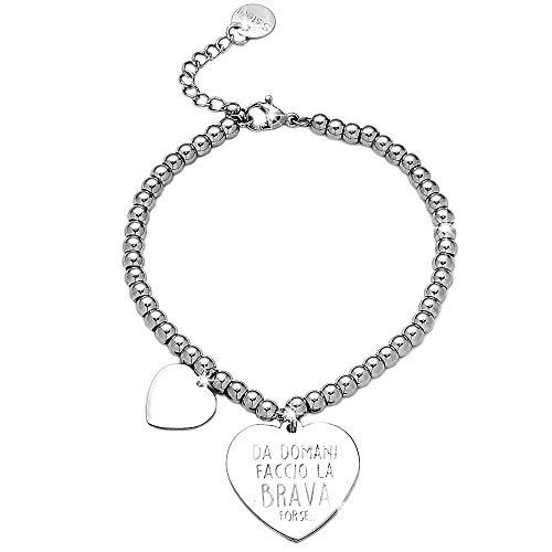 Beloved Bracciale da donna, braccialetto in acciaio emozionale - frasi, pensieri, parole con charms - ciondolo pendente - misura regolabile - incisione - argento (MOD 21)