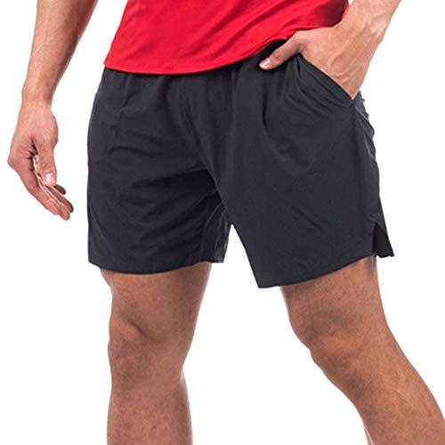 Dtuta Shorts Herren Sommer Freizeit Elastische Taille Einfache Einfarbige Gummiband Gurt Elastische Tasche Atmungsaktiv Schnell Trocknende Doppel-Shorts Freizeithosen Sport Fitness Five Pants