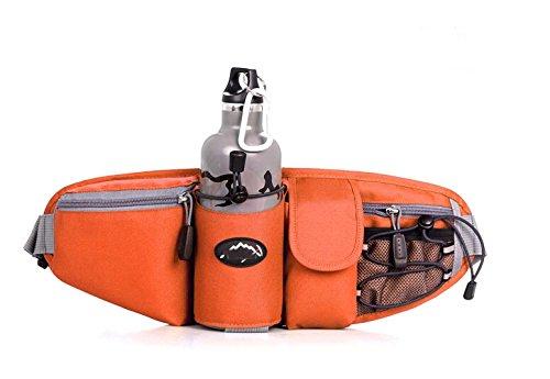 Wasserdicht Lendenwirbelsäule Taille Pack–Running Tasche Gürtel mit Wasser Flaschenhalter (die Flasche ist nicht im Lieferumfang enthalten) Orange - orange