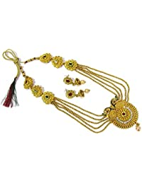 Shree Mauli Creation Golden Alloy Golden 5 Line Peacock Brooch Pendant Necklace Set For Women SMCN1059
