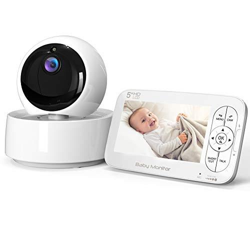 Vigilabebés Inalámbrica con Cámara, COOAU Video Monitor con Pantalla LCD HD de 5