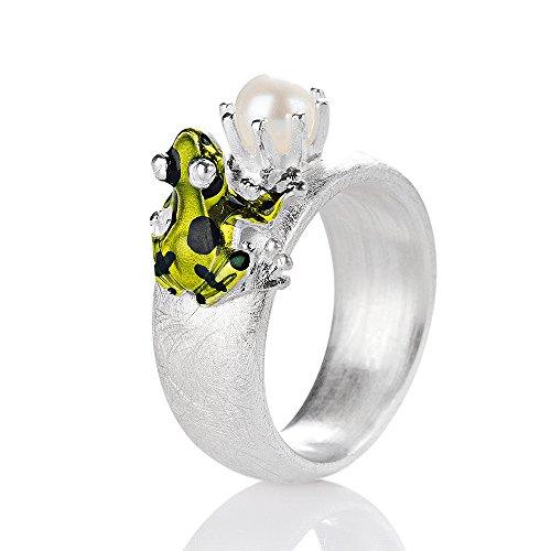 Drachenfels Luxus Damen Ring aus der Kollektion Giftpfeilfroschkönig | Ring mit Froschkönig und Süßwasser Zuchtperle | Edler Designer Ring für Damen