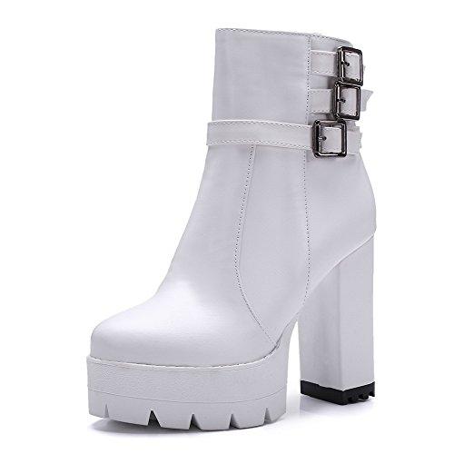 VogueZone009 Donna Cerniera Tacco Alto Luccichio Puro Bassa Altezza Stivali Bianco