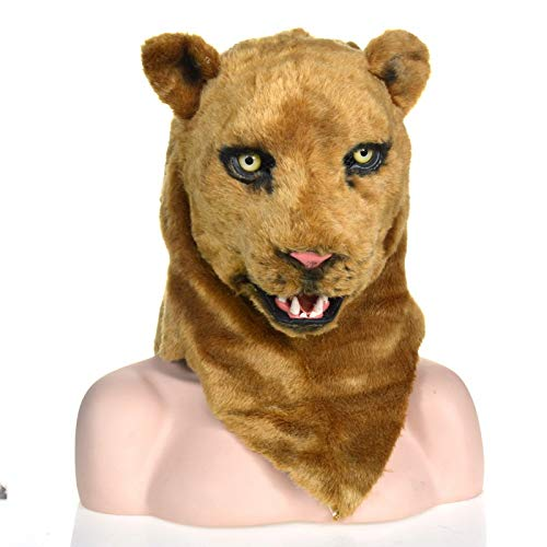 Kopf Maske, Maskerade Halloween Karneval Geburtstag Party Kostüm Realistische handgemachte angepasste Tier Cosplay beweglichen Mund mit Fell verziert ()