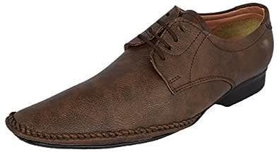 LeeGraim Men's Brown Leather Derby Shoes - 10 UK
