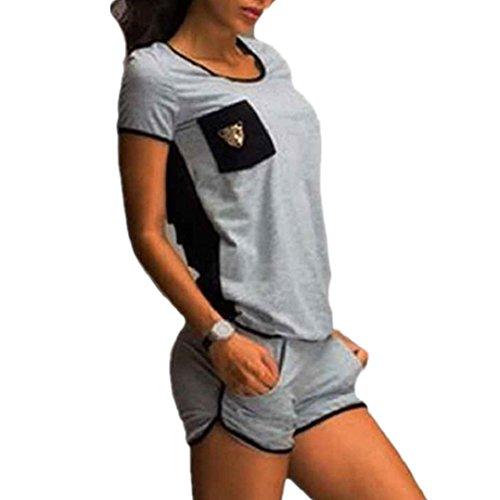 Kolylong Frau Sport Outfit Yoga Outdoor Jogging Sportkleidung Anzüge Tops und Hosen Grau (M)