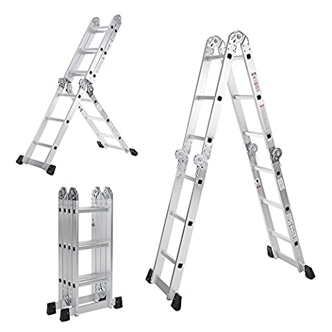 iKayaa Aluminum Multi Purpose Step Ladder Folding Scaffold Work Platform W/ Safety Locking Hinge 7 in 1