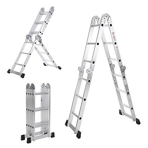 IKayaa AM0112A - Escalera Plegable 7 En 1 Multifunción Extensible,Max.150kg,12 PeldañosPasado EN131-Parte...