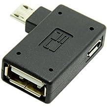 CY 90grados Ángulo izquierdo Micro USB 2.0OTG Host Adaptador con alimentación USB para Galaxy S3S4S5Note2Note3Cell Phone y Tablet