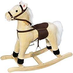 Knorrtoys 40502 - Cavallo a dondolo in peluche, colore: Beige