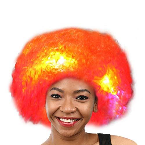 Zolimx Karneval LED Flash Clown Haar Kopfschmuck Prop Explosion Kopf Verkleiden Sich Party Disco Lustige Afro Fußball Fan Kinder Erwachsene Funny Maskerade Haar ()