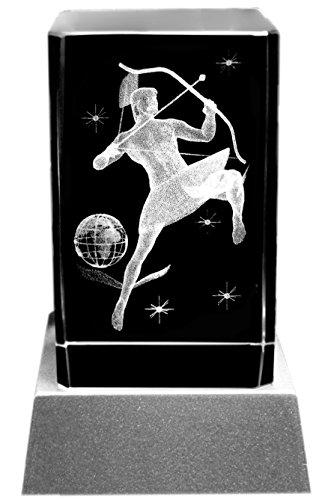 Kaltner Präsente Stimmungslicht LED Kerze/Kristall Glasblock / 3D-Laser-Gravur Sternzeichen Schütze Kristall-kerze