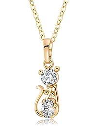 yazilind k joyeria de oro plateado cadena exquisita gatito gato pendiente chispa cubicos zirconia de