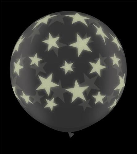 Giant 3ft Glow in the Dark Stars-A-Round Qualatex Latex Balloon by Qualatex