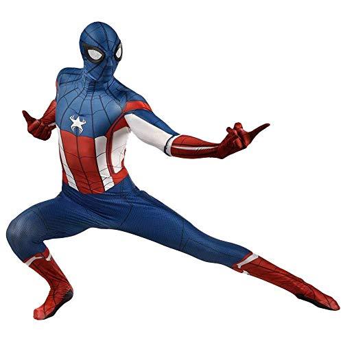 ASJUNQ Spider-Man Kostüm Captain America Conjoined Bodysuit Cosplay, Festival Gala Rollenspiel Kostüm,Adult-M (Captain Bodysuit Frauen America)