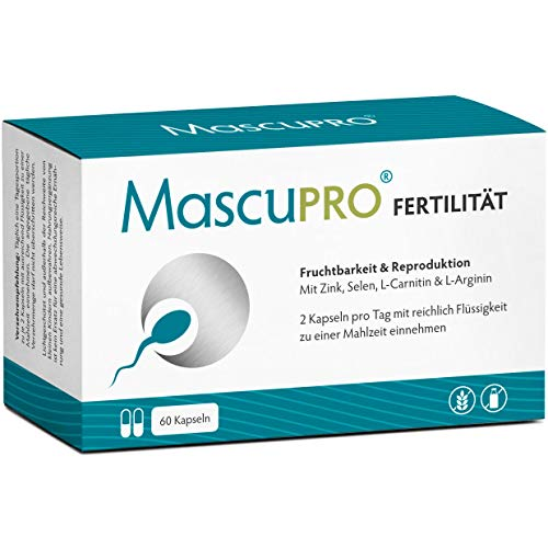 MascuPRO Fertilität Mann - Fruchtbarkeit - Spermienproduktion + 60 Kapseln + L-Carnitin Carnipure®, L- Arginin, Zink + Vitamine Mann Kinderwunsch