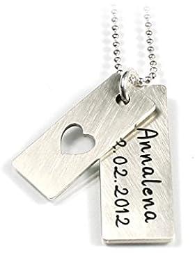 zweifacher Anhänger mit Kreuz, Herz oder Stern und Kette aus 925 Silber mit individueller Gravur | Doppelanhänger...