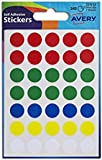Avery 32-512 Dot Stickers (13 mm Diameter, 245 Stickers) - Assorted Colours