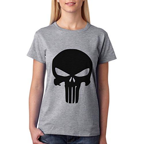 Colore: Nero con motivo Punisher Skull-Maglietta da donna grigio XXL