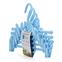 HANGERWORLD 30cm Plastic Coat Hangers with Trouser/Skirt Clips - For Baby & Toddler Clothes