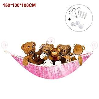 Juguete Hamaca Organizador Dormitorio Relleno Esquina Almacenaje Bebé Niños Baño Muñecas Flexible Colgante Ropa de Cama Red – Rosa, 150x100x100