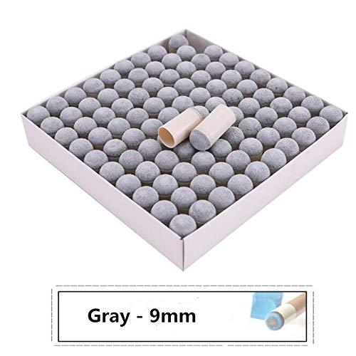 XuBa Profi-Billardqueue-Spitzen, Grau, 100 Stück, Gray/9 mm