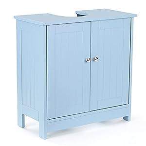 IKAYAA Armario de Suelo para Debajo del Lavabo (Madera y 2 Puertas) Armario de Almacenaje para Cuatro de Baño Color Azul 60 * 29 * 60 cm