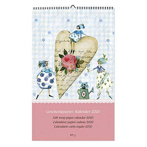 Geschenkpapier-Kalender 2020 mit Zweitnutzen, recycelbarer Kalender I Jahresplaner I Monatsplaner zum Aufhängen, liebevoll illustrierte Geschenkpapierbögen, 12 Monate