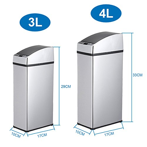 PANGUN 3L/4L Sensor Automatischer Mülleimer Mülleimer Berührungsfrei Edelstahl Abfalleimer Für Küchen Büro-4L