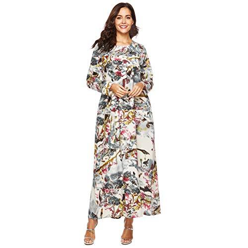 QAQBDBCKL Robe Élégante pour Femme Robe Hiver À Manches Longues Vintage Imprimée en Lin Lâche Ample Cocoon Maxi Dress