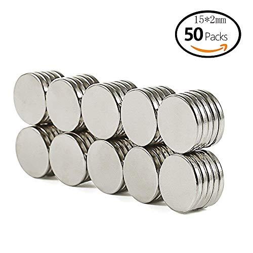 Magnete Extrem Stark (50Stück/15 * 2/Rund) Neodym Magnet Mini Magnete für Kühlschrank, Whiteboard, Pinnwand, Sammle Metallstifte oder Metall-Widgets