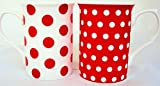 Red Dots and Spots Mugs Set of 2 Fine Bone China Mix Red Mugs Hand Decorated in the UK Free UK Delivery