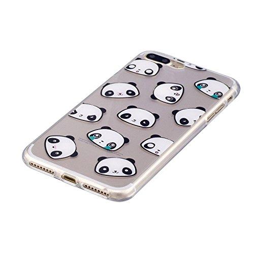 TPU Custodia per iPhone 7 Plus Cover, ZCRO Trasparente con Disegni TPU Bumper Silicone Gel Morbida Gomma Custodia Chiaro Copertura Case Ultra Sottile Flessibile Caso con Penna Stilo per iPhone 7 Plus  Carina Pandas