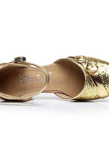 ShangYi Chaussures de danse ( Argent / Or ) - Non Personnalisables - Talon Bottier - Flocage - Ventre / Latine / Salsa Silver
