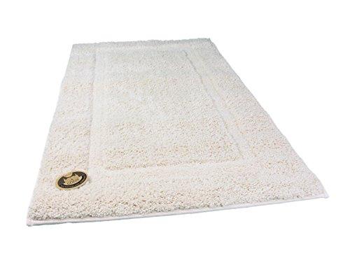 Gözze Badteppich, Mikrofaser Hochflorteppich, 70 x 120 cm, Rahmen, Natur, - Natur-badezimmer-teppich