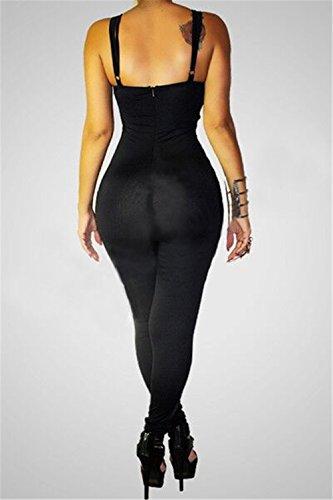 Femmes Sexy Cut Out bretelles Backless sans manches Nightclub Slip Rompers Jumpsuit Noir