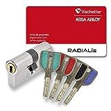 Cylindre Vachette Radialis 2 entrées 4 clés couleurs 32,5x32,5 A2P** Nickelé P7101NT+