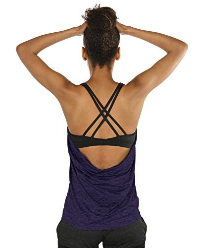 icyzone Fitness Shirt Damen Sport Tops mit BH - X Rücken Gym Yoga Oberteile 2 In 1 (M, Purple)