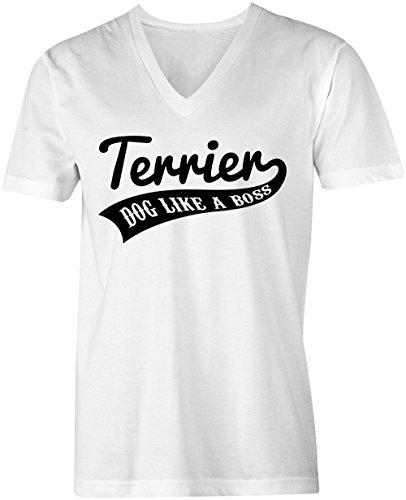 Terrier Dog Like A Boss ★ V-Neck T-Shirt Männer-Herren ★ hochwertig bedruckt mit lustigem Spruch ★ Die perfekte Geschenk-Idee (02) weiss