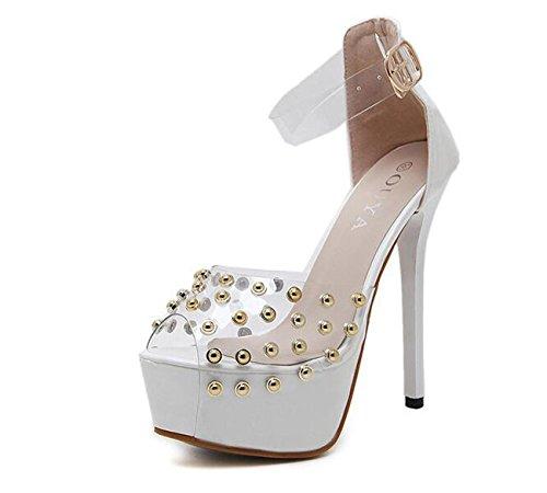 PBXP Hochzeitsplattform Pumps Stiletto High Heel Transparente Obere Knöchelriemen Niet Dekoration Stil Frauen Sandalen Peep Toe Anti-Rutsch Wearable Elegant Party OL Sandalen White