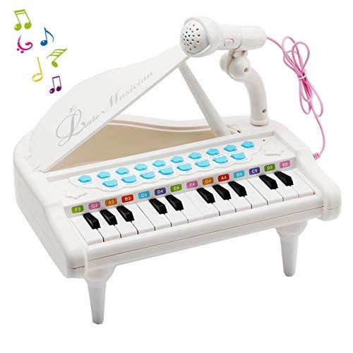 Amy&Benton Klaviertastatur Spielzeug für Kinder 24 Tasten Weiß Elektronische Musikinstrument Multi-Funktion mit Mikro für Kleinkinder