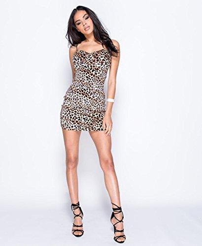 Damen Celeb inspiriert Leopard Katze Kleid Crop Top Bardot Halterneck eine Schulter Cami EUR Größe 34-42 Leopard Cami