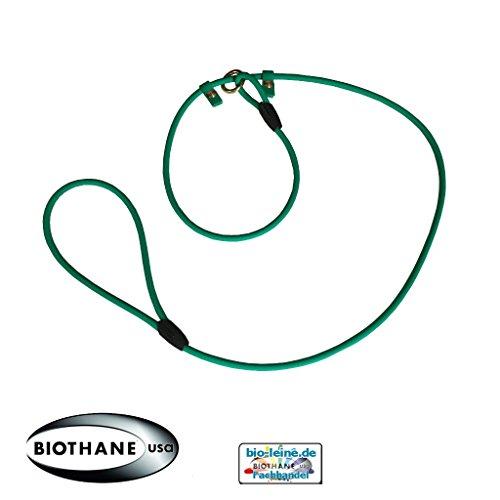 Retrieverleine aus runder Beta BioThane®, Moxonleine mit Zugstopp, Wasserabweisende Hundeleine, Leine für Retriever, 6mm dick, 2m lang, Smaragdgrün