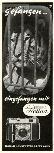 Kamera Alte Kodak (1951 - Anzeige / Inserat : KODAK RETINA KAMERA / GEFANGEN - Format 200x70 mm - alte Werbung / Originalwerbung/ Printwerbung / Anzeigenwerbung)