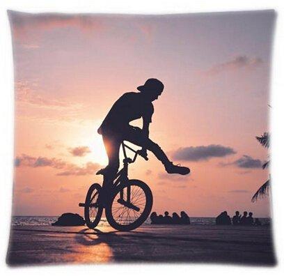 Alexander Best Verkauf Individuelle BMX Silhouette Sport Design mit quadratisch Reißverschluss Benutzerdefiniert Überwurf Kissen Displayschutzfolie Kissenbezüge Twin Seiten, 18x18inch