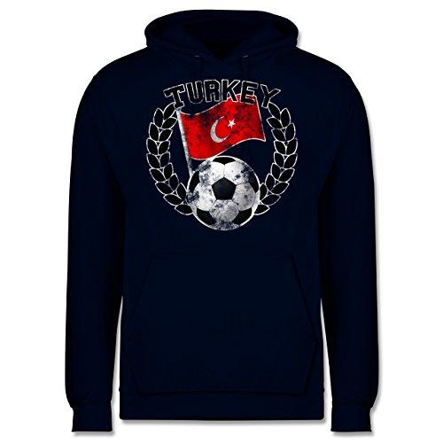 EM 2016 - Frankreich - Turkey Flagge & Fußball Vintage - Männer Premium Kapuzenpullover / Hoodie Dunkelblau