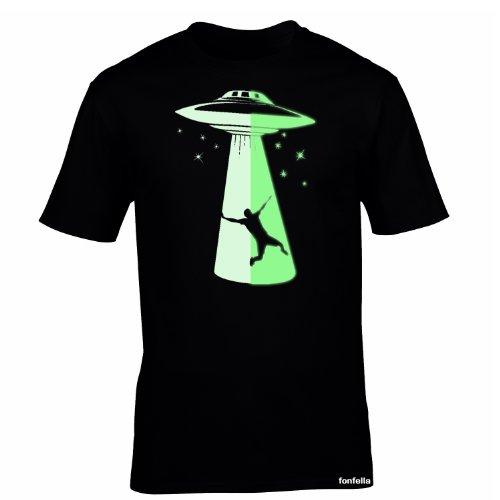 Glow In The Dark fonfella Jungen T-Shirt, Slogan Schwarz Schwarz Large