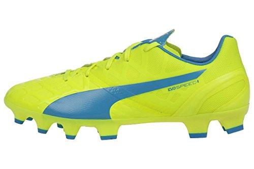 Puma evoSPEED 1.4 FG Unisex-Kinder Fußballschuhe safety yellow-atomic blue-white 04