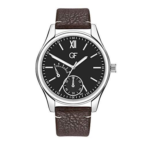 Huacat Herren Quarz Uhr mit Leder Armband Chronograph Kalender Wasserdicht Multifunktions Zifferblatt Edelstahl Herrenuhr (Vintage Orient Kalender-uhr)